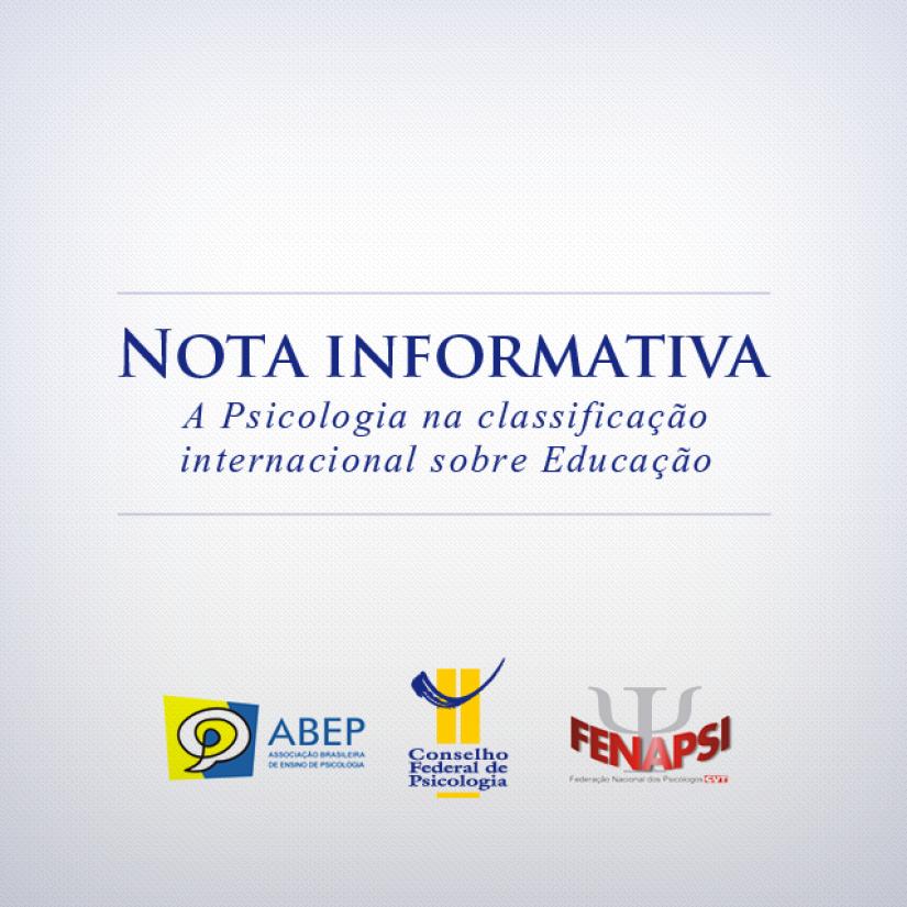 Nota informativa sobre a Psicologia na classificação internacional da Educação
