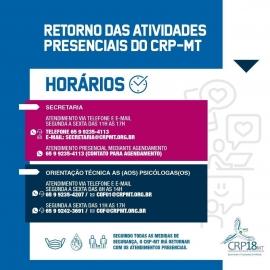 CRPMT inicia no dia 15 de setembro retorno gradual do atendimento presencial