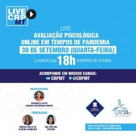 Live do CRP18-MT discute Avaliação Psicológica online em tempos de pandemia