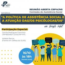 CRPMT participa de discussão do CRPMS sobre atuação de psicólogas(os) na assistência social