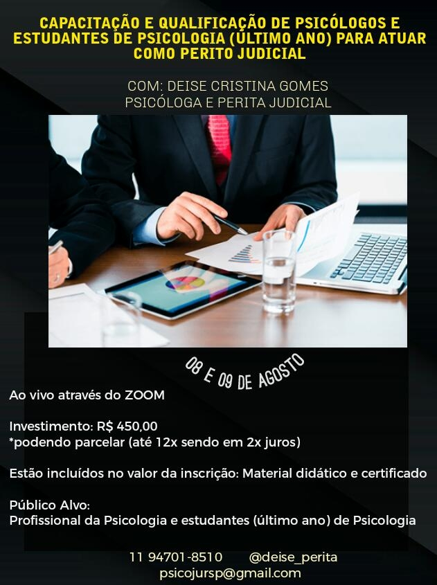 PERITO JUDICIAL | Capacitação e qualificação de psicólogos e estudantes de Psicologia